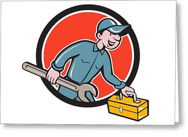 Toolbox Greeting Cards - Mechanic Carrying Toolbox Spanner Circle Cartoon Greeting Card by Aloysius Patrimonio