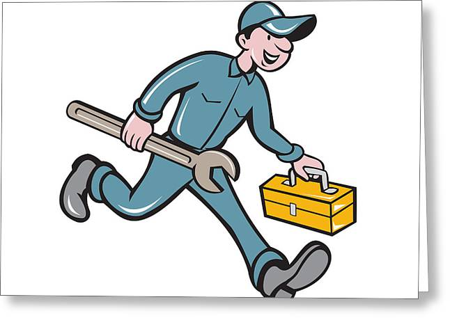 Toolbox Greeting Cards - Mechanic Carrying Toolbox Spanner Isolated Cartoon Greeting Card by Aloysius Patrimonio