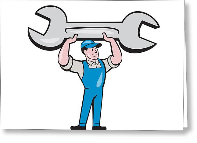 Overalls Greeting Cards - Mechanic Lifting Spanner Wrench Cartoon Greeting Card by Aloysius Patrimonio
