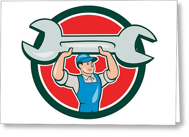 Overalls Greeting Cards - Mechanic Lifting Spanner Wrench Circle Cartoon Greeting Card by Aloysius Patrimonio