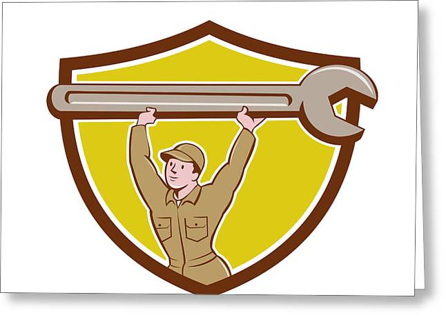 Overalls Digital Greeting Cards - Mechanic Lifting Spanner Wrench Crest Cartoon Greeting Card by Aloysius Patrimonio