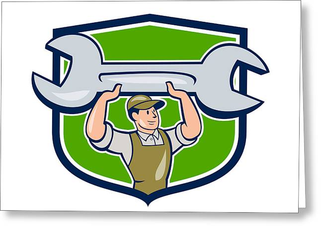 Overalls Greeting Cards - Mechanic Lifting Spanner Wrench Shield Cartoon Greeting Card by Aloysius Patrimonio