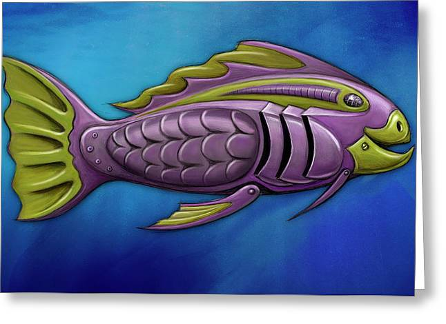 Fish Digital Greeting Cards - Mechanical Fish 4 Harley Greeting Card by David Kyte