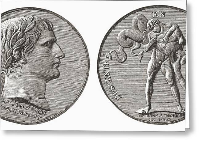 Coins Greeting Cards - Medal Struck By Napoleon In Greeting Card by Ken Welsh
