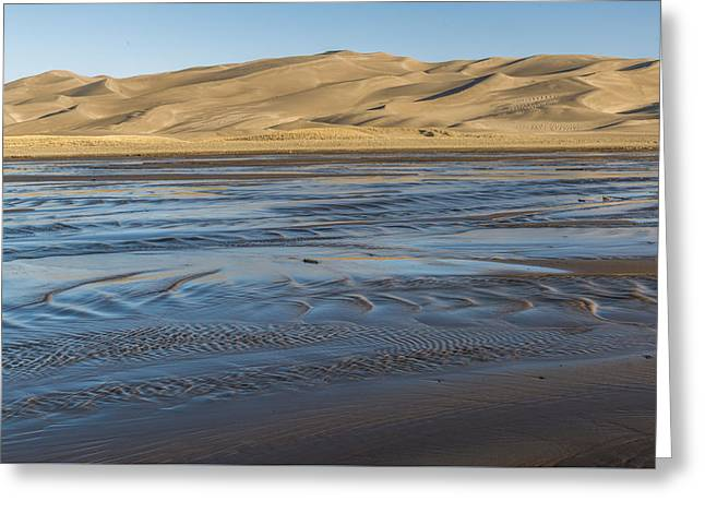 Sand Patterns Greeting Cards - Medano Creek Sunrise Greeting Card by Howie Garber
