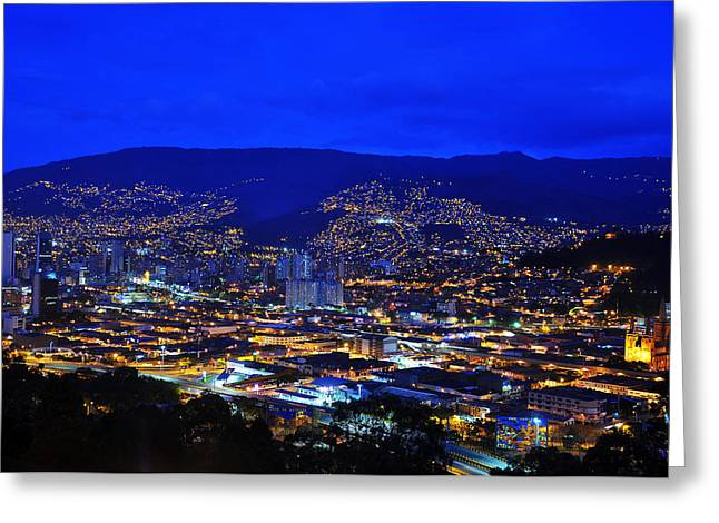 Blue Hour Greeting Cards - Medellin Colombia at Night Greeting Card by Jess Kraft