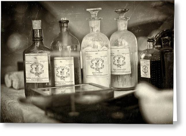 Old Philadelphia Bottles Greeting Cards - Medicinal Remedy Greeting Card by Scott  Wyatt