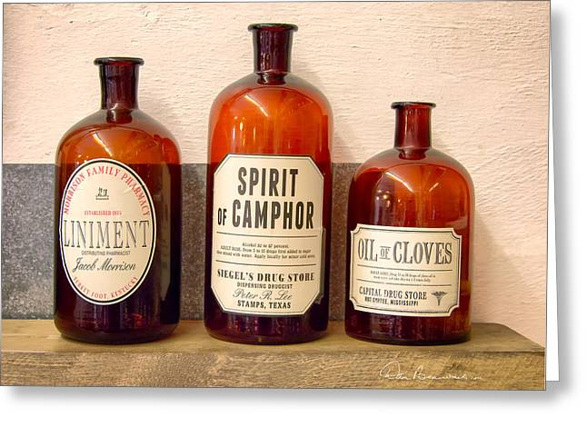 Liniment Greeting Cards - Medicine Bottles 1925 Greeting Card by Dan Beauvais