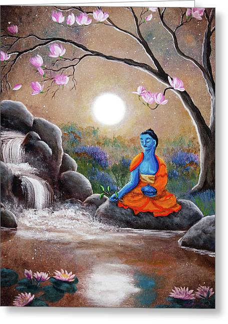 Medicine Buddha By A Waterfall Greeting Card by Laura Iverson