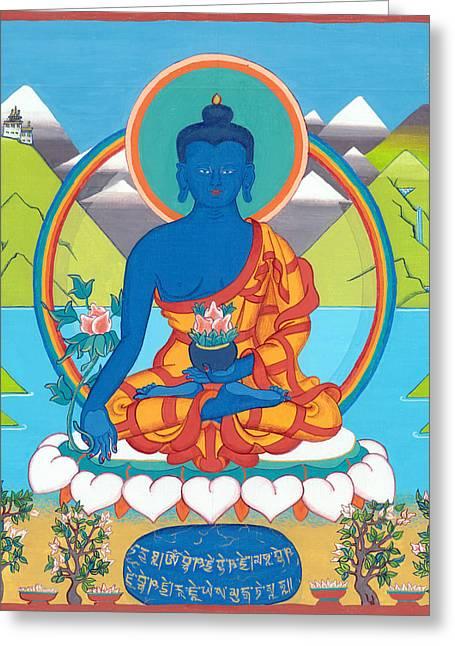 Tibetan Buddhism Greeting Cards - Medicine Buddha or Bhaishajyaguru Greeting Card by Berty Sieverding