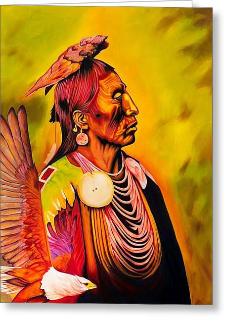Medicine Crow And Eagle Greeting Card by Keely Spell