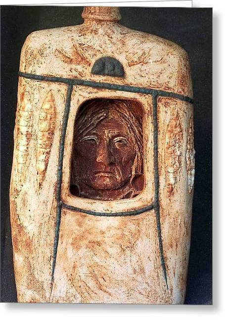 Ceramic Ceramics Greeting Cards - Medicine Man Greeting Card by Gaylon Dingler