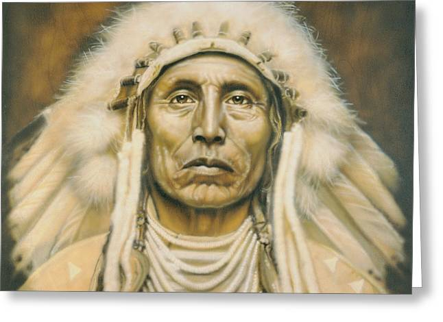 Native American Portraits Greeting Cards - Medicine Man Greeting Card by Tim  Scoggins