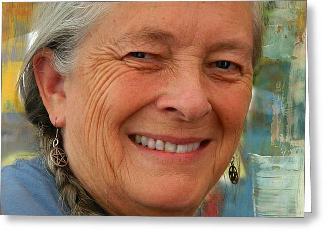 Gray Hair Greeting Cards - Medicine Woman Greeting Card by Kathy Barney