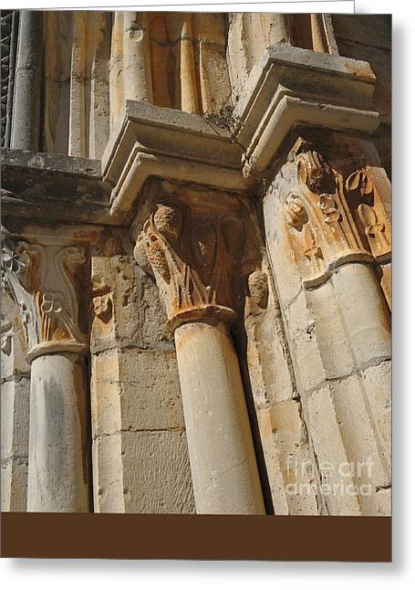 Sculptural Decoration Greeting Cards - Medieval church arch detail 2 Greeting Card by Angelo DeVal