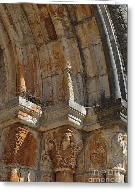Sculptural Decoration Greeting Cards - Medieval church arch detail Greeting Card by Angelo DeVal