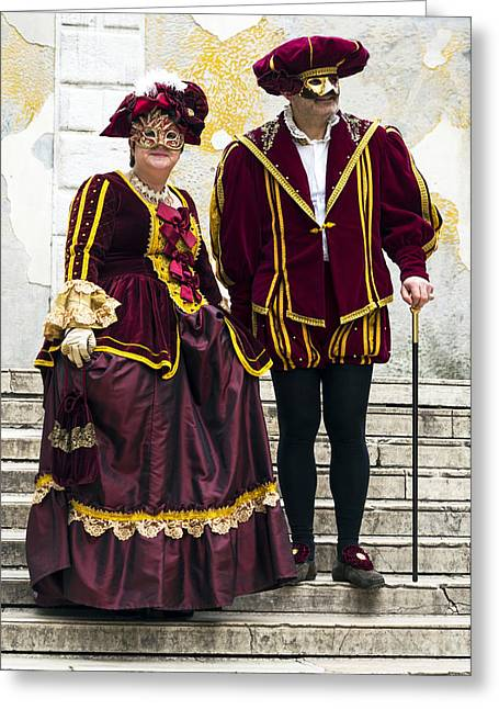 Pantaloons Greeting Cards - Medieval Couple 2015 Carnevale di Venezia Italia Greeting Card by Sally Rockefeller