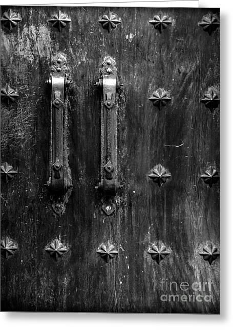 Entrance Door Greeting Cards - Medieval Door Greeting Card by James Aiken