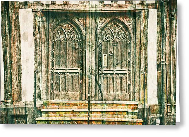 Medieval Doors Greeting Card by Tom Gowanlock
