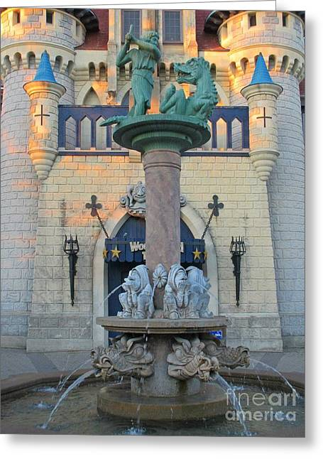 Fantasy Sculptures Greeting Cards - Medieval Fountain Greeting Card by John Malone