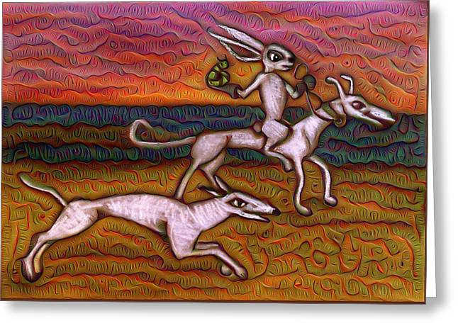 Adam Pastels Greeting Cards - Medieval Future Remembrance with Dogs Bunny Caterpillar Greeting Card by Amy Marie Adams