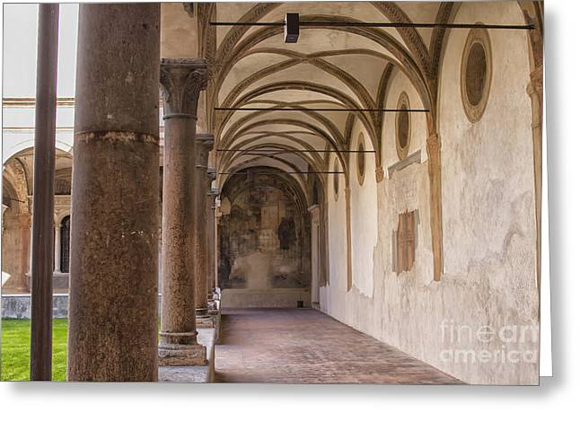Medieval Hallway Of Italian Cloister Greeting Card by Patricia Hofmeester