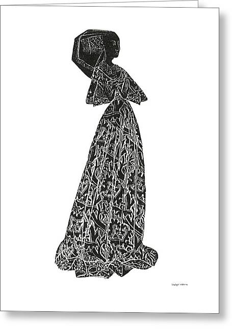 Brass Rubbing Greeting Cards - Medieval Lady Brass Rubbing  Greeting Card by Shelagh Watkins