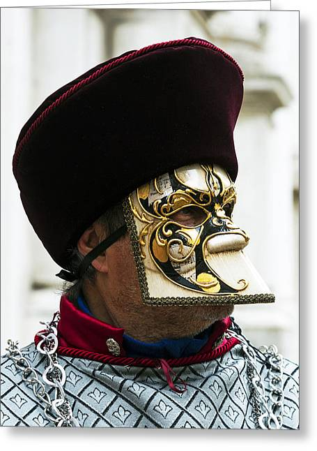 Gold Necklace Greeting Cards - Medieval Man 2015 Carnevale di Venezia Italia Greeting Card by Sally Rockefeller