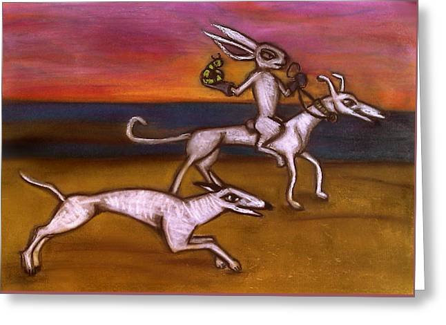 Adam Pastels Greeting Cards - Medieval Remembrance with Dogs Bunny and Caterpillar Greeting Card by Amy Marie Adams