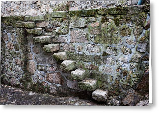 Sticking Out Greeting Cards - Medieval Stone Steps and Wall Greeting Card by Artur Bogacki