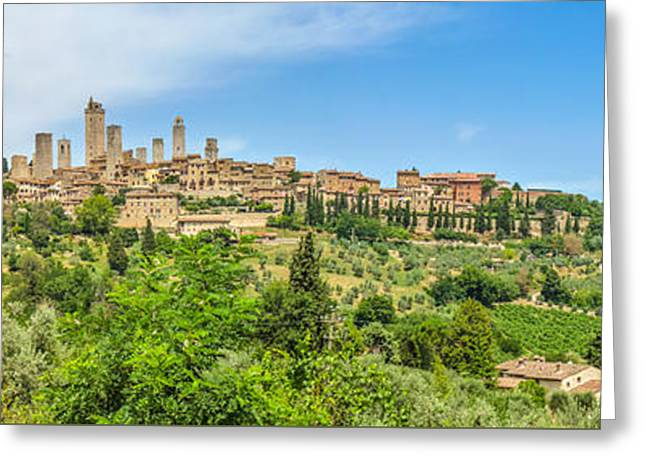 Historic Architecture Greeting Cards - Medieval town of San Gimignano, Tuscany, Italy Greeting Card by JR Photography