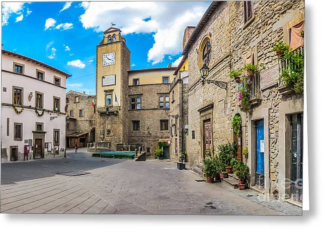 Historic Architecture Greeting Cards - Medieval town square of Vitorchiano in Lazio, Italy Greeting Card by JR Photography