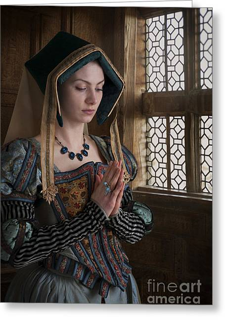 Puffed Sleeves Greeting Cards - Medieval Tudor Woman At Prayer Greeting Card by Lee Avison