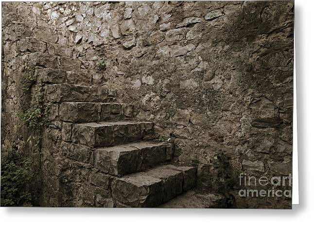Tavira Greeting Cards - Medieval Wall Staircase. Sepia Digital Art Greeting Card by Angelo DeVal