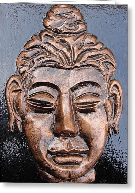 Religious Reliefs Greeting Cards - Meditating Buddha Greeting Card by Rajesh Chopra