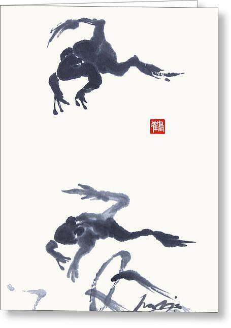 Meditating Frogs Greeting Card by Nadja Van Ghelue