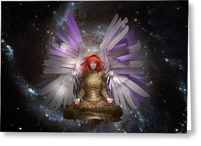 Empowerment Greeting Cards - Meditation Angel Greeting Card by Charm Angels