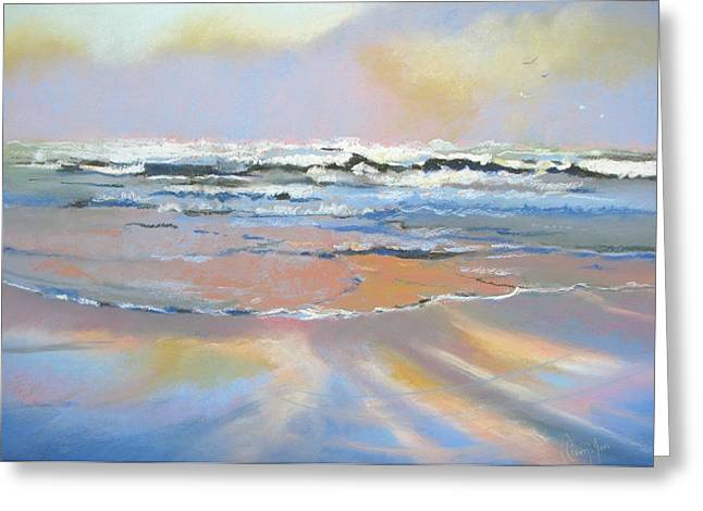 Abstract Seascape Pastels Greeting Cards - Meditation Greeting Card by Christine  Camilleri