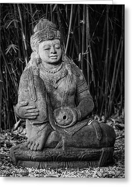 Garden Statuary Greeting Cards - Meditation in the bamboo forest 2 Greeting Card by Andy Crawford