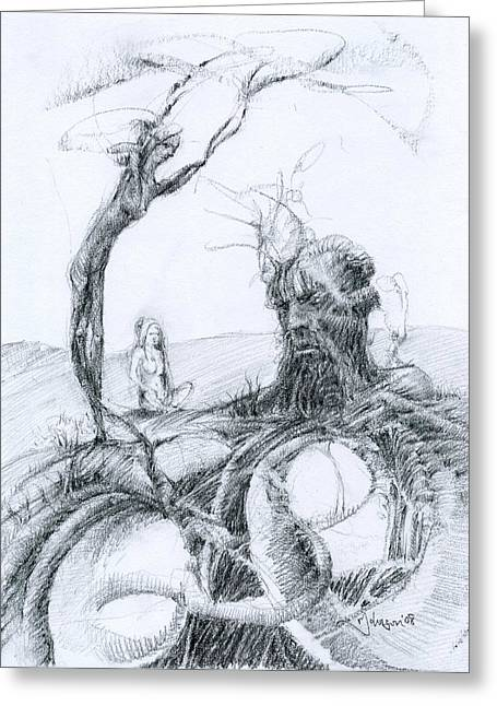 Pensive Drawings Greeting Cards - Meditation Greeting Card by Mark Johnson