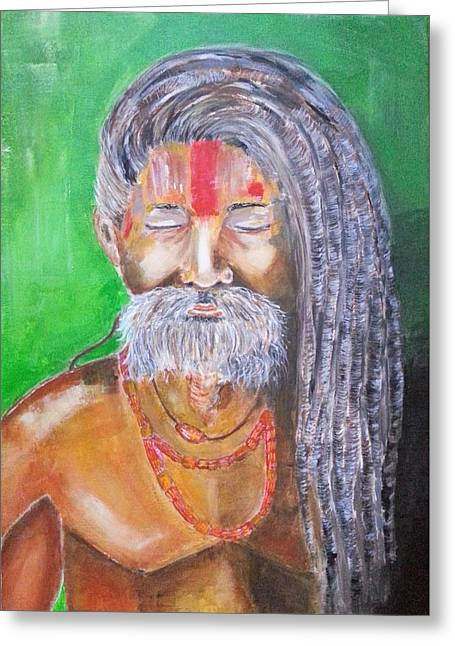 Inner Self Greeting Cards - Meditation - portrait of a Sadhus Holy Man Greeting Card by Cristina Parus