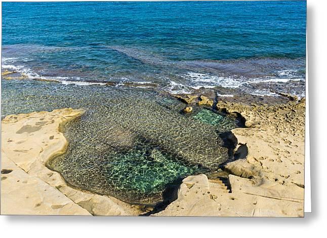 Mediterranean Delight - Maltese Natural Beach Pool With A Sleeping Giant Greeting Card by Georgia Mizuleva