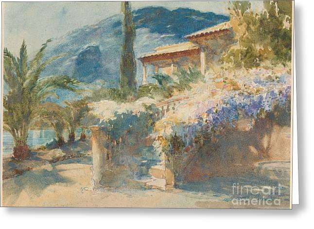 Mediterranean Garden Scene Greeting Card by Celestial Images