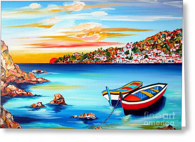 Village By The Sea Greeting Cards - Mediterranean Sunset with boats Greeting Card by Roberto Gagliardi