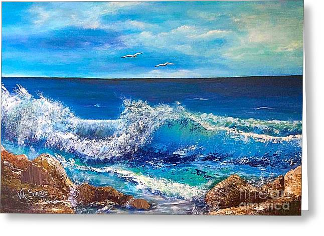 Mediterranian Waves Greeting Card by Viktoriya Sirris