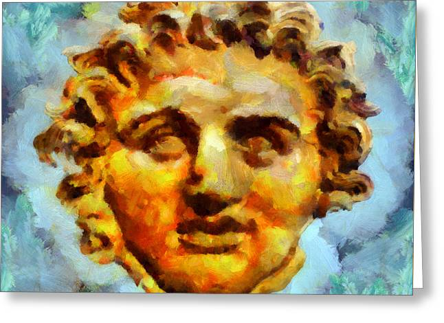 Statue Portrait Paintings Greeting Cards - Medousa Greeting Card by George Rossidis