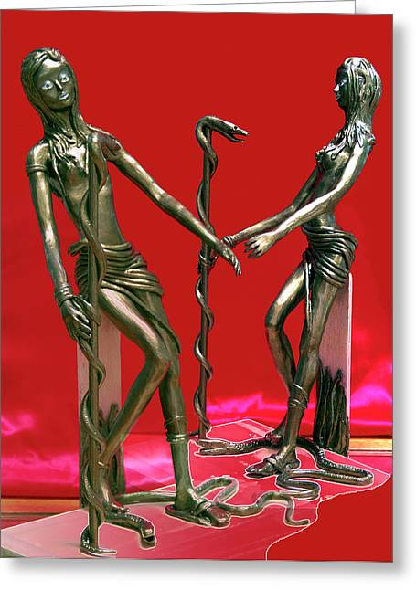 Pieces Sculptures Greeting Cards - Medusa 2  Greeting Card by Yelena Rubin