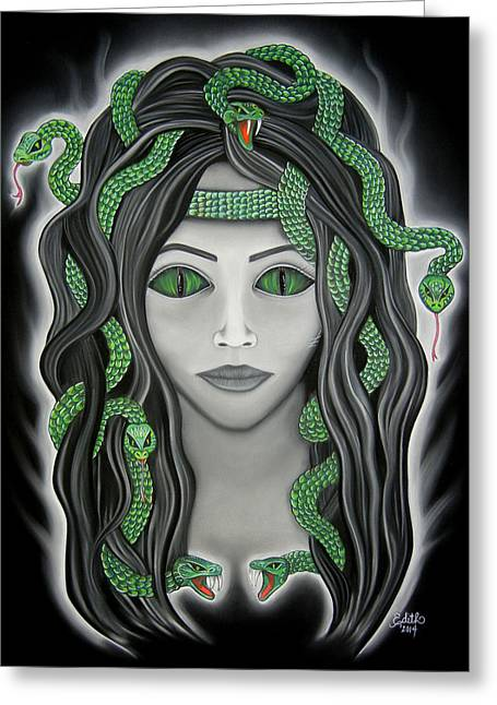 Medusa Pastels Greeting Cards - Medusa Greeting Card by Edith Ann Cantu