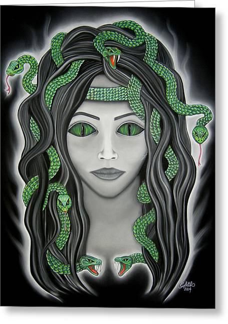 Mythology Pastels Greeting Cards - Medusa Greeting Card by Edith Ann Cantu