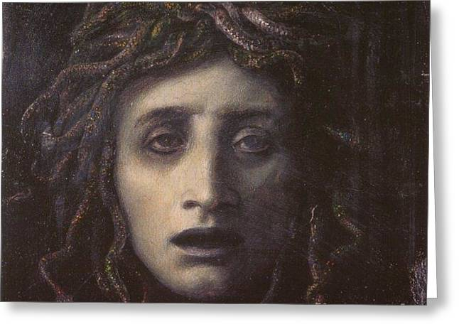 Medusa Mixed Media Greeting Cards - Medusa Greeting Card by Frederick Holiday
